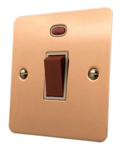 G&H FBC46W Flat Plate Bright Copper 45 Amp DP Cooker Switch & Neon Single Plate